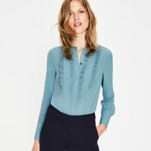 Boden Macie ruffle blouse in blue